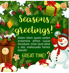 winter holiday season greeting card vector image
