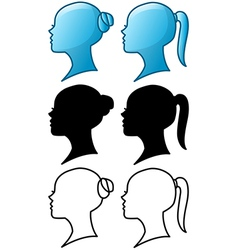 Woman Head Icon and Silhouette Pack vector