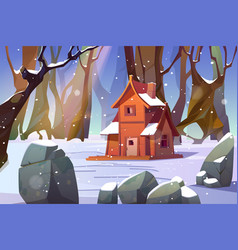 wooden house in winter forest old shack in wood vector image