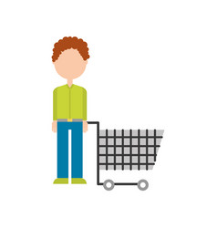 young man pushing trolley shopping customer vector image
