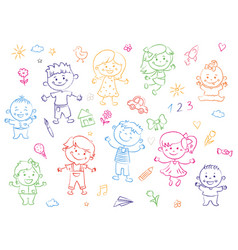 cheerful children standing together drawings vector image
