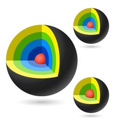 Cutaway sphere vector image vector image