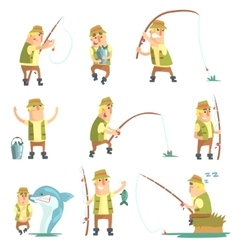 Fisherman in different funny situations set of vector