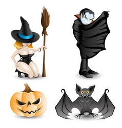 set of halloween characters vector image vector image