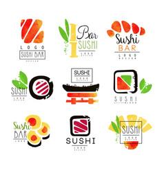 sushi bar logo design set of colorful watercolor vector image