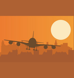 with plane taking off at sunset vector image