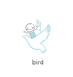 Bird and man vector image vector image