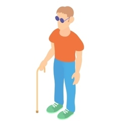 Blind man with a cane icon cartoon style vector image