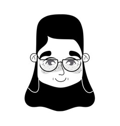 contour old woman face with hairstyle and glasses vector image