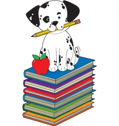 dog on books vector image vector image