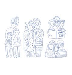 happy grandparents with grandchildren set hand vector image vector image