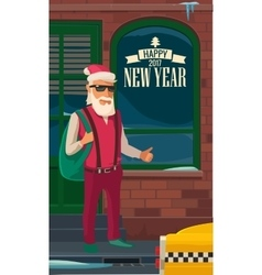 Hipster Santa Claus and taxi New York Flat vector image vector image