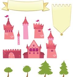 Set of castle design elements vector