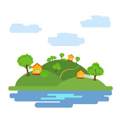 summer background with the image of the houses vector image vector image