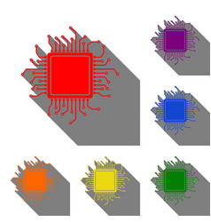 cpu microprocessor set of red vector image