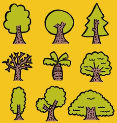 hand-drawn trees vector image vector image