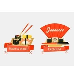 Nigirizushi and temaki sushi rolls banners vector image