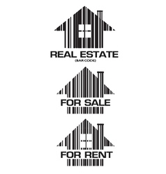 Real Estate barcode houses vector image
