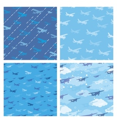 Seamless patterns with planes vector image