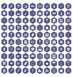 100 stationery icons hexagon purple vector image vector image