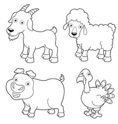 Animal farm outline vector image