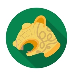Animal head of viking s ship icon in flat style vector