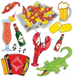 cajun food and drinks vector image vector image