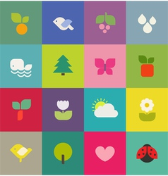 Colorful nature Icons set vector image vector image