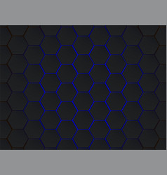 dark gray and blue hexagons modern geometrical vector image