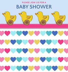 Delicate baby shower card with duck toys vector image vector image