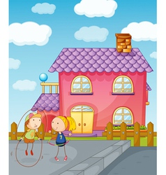 kids playing skipping rope vector image vector image