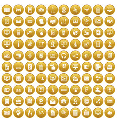 100 database icons set gold vector