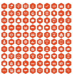 100 shopping icons hexagon orange vector