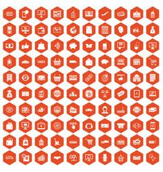 100 shopping icons hexagon orange vector image