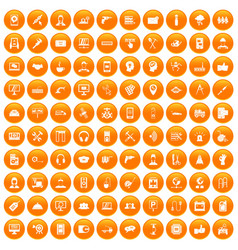 100 support icons set orange vector