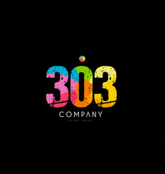 303 number grunge color rainbow numeral digit logo vector image
