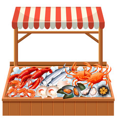 A seafood stall on white background vector