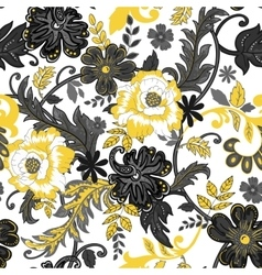 Abstract seamless pattern with isolated flowers on vector