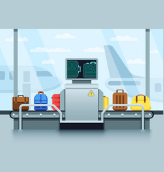 Airport conveyor belt with passenger luggage and vector
