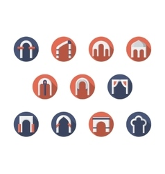 Arch constructions round flat icons set vector
