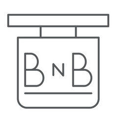Bed and breakfast thin line icon hotel and sleep vector