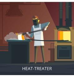 Blacksmith At Work Retro Cartoon Poster vector