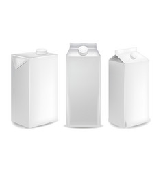 blank milk packages isolated realistic vector image