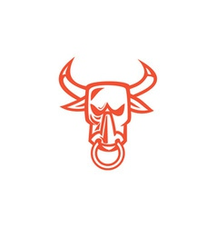 Bull Cow Head Nose Ring Cartoon vector image