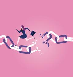 Businesswoman escaping the broken chain vector
