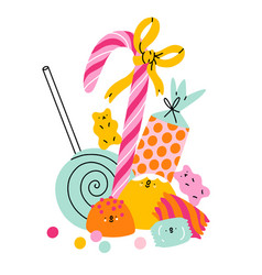 candy land characters composition vector image