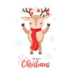card with christmas santa reindeer cartoon deer vector image