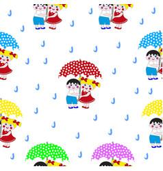cartoon boy and girl under an umbrella vector image