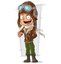 Cartoon happy pilot in leather helmet vector