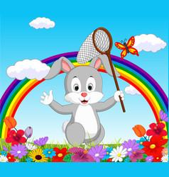 Cartoon rabbit in garden vector